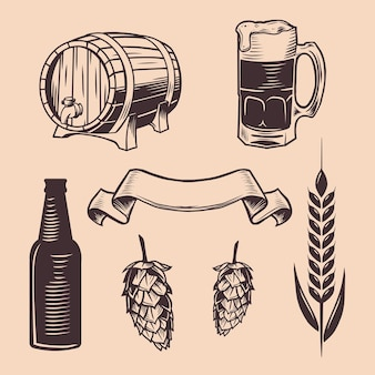 Vintage bierobjekt holzfass illustration