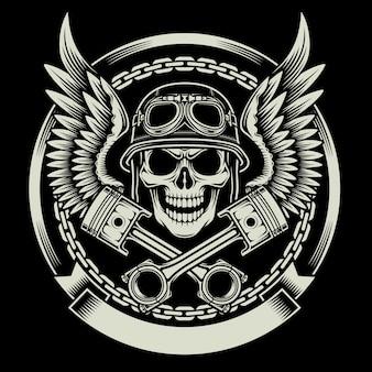 Vintage biker schädel mit flügeln und kolben emblem