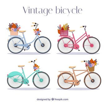 Vintage bikes mit blumen
