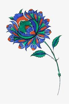 Vintage blaue blumenillustration