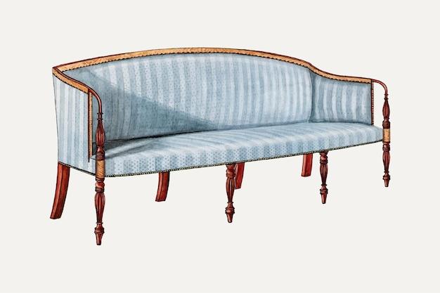 Vintage blaue sofa-vektor-illustration, remixed aus dem artwork von john dieterich