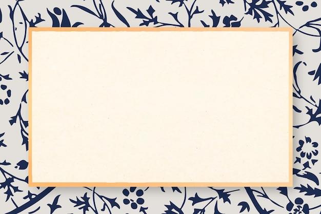 Vintage blue tulip flower frame vector remix aus artwork von william morris