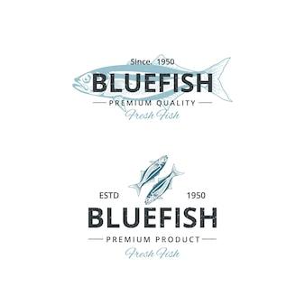 Vintage bluefish logo vorlage für restaurant