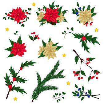 Vintage blumen frohe weihnachten