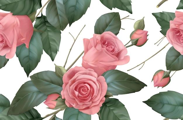 Vintage-blumen. nahtloses muster der rosen. 3d-vektor realistischer hintergrund
