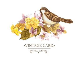Vintage blumenkarte mit rosen und wilden blumen