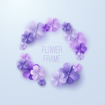 Vintage blumenrahmen. von lila blumengirlande. dekorationselement für hochzeitseinladung.