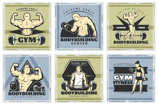 Vintage bodybuilding illustrationen set