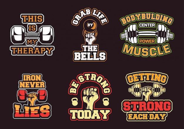 Vintage bodybuilding-label-auflistung