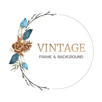 Vintage boho rahmenkranz in aquarell
