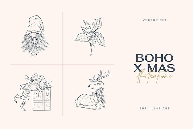 Vintage boho weihnachtshand gezeichnete illustration