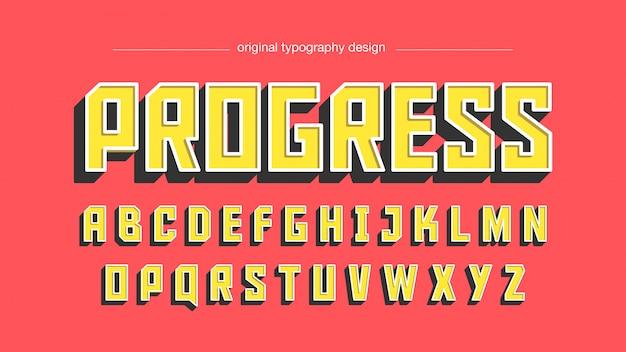 Vintage bold squared uppercase yellow typografie