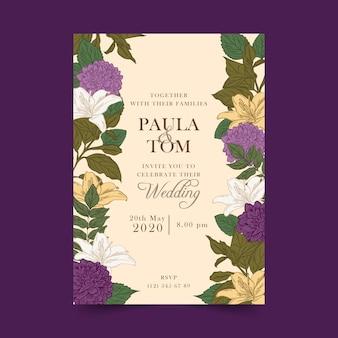 Vintage botanische hochzeits-einladung