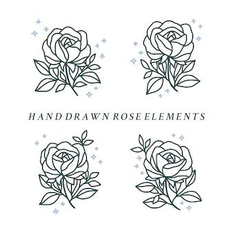 Vintage botanische rosenblumenlogo-elementkollektion