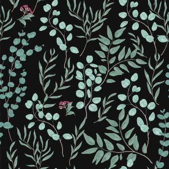 Vintage botanisches nahtloses muster mit herrlichen eukalyptuszweigen, -blättern und -blumen auf schwarz