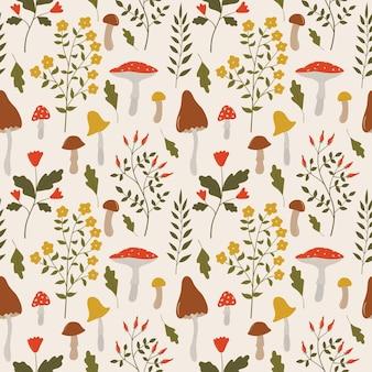 Vintage botanisches nahtloses muster mit wilden kräutern blüht zweige blätter und pilze
