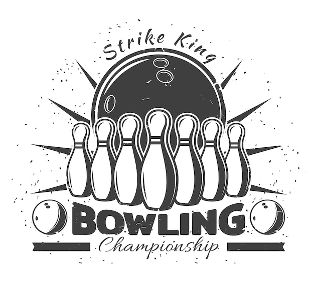 Vintage bowling club vorlage