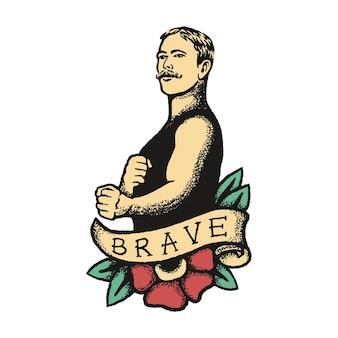 Vintage boxer im tattoo-stil