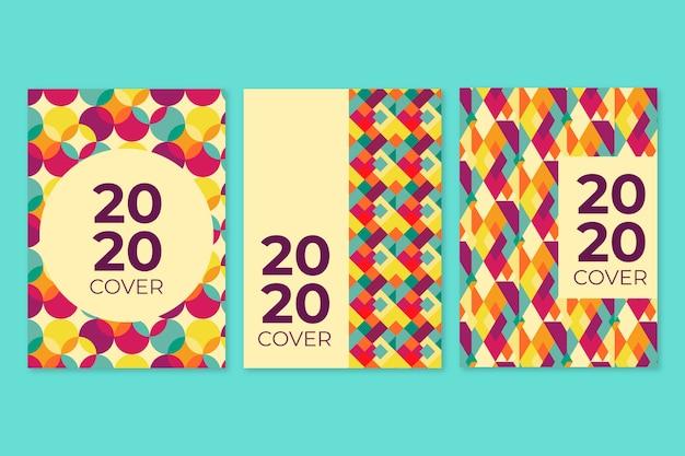 Vintage bücher und notizblöcke geometrische cover-sammlung