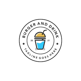 Vintage burger drink logo für fast food restaurant retro design vector template