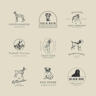 Vintage-business-logo-vorlage mit vintage-hundeset, neu gemischt aus kunstwerken von moriz jung