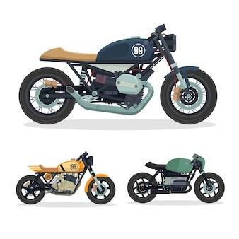 Vintage Cafe Racer Motorrad-Abbildung-Set