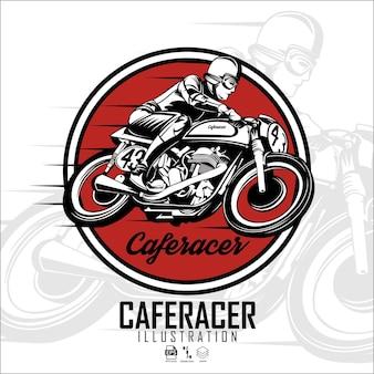 Vintage caferacer-illustration mit weißem hintergrund