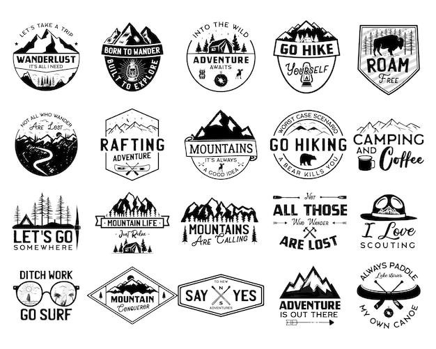 Vintage camp logo bundle, bergabzeichen gesetzt. handgezeichnete etikettendesigns. reiseexpedition, kanu, fernweh und wandern. outdoor-embleme. sammlung von logos. vektor auf lager isoliert auf weiss.