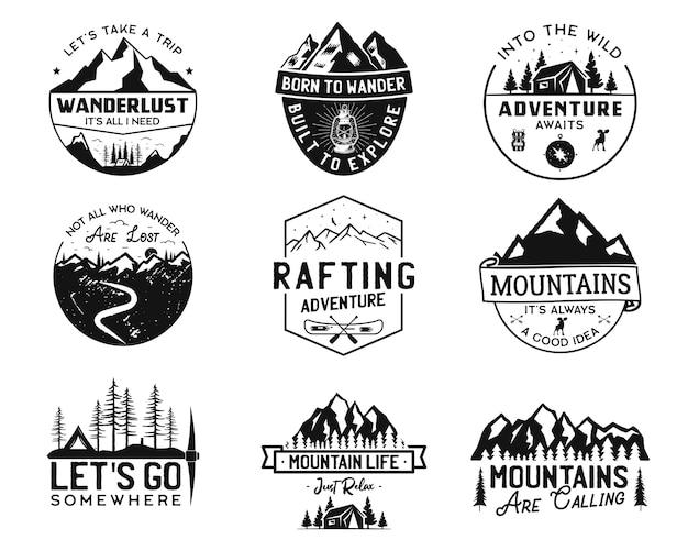 Vintage camp logos, bergabzeichen gesetzt.
