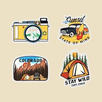 Vintage camp patches logos, bergabzeichen gesetzt