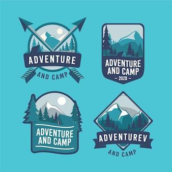 Vintage camping & abenteuer abzeichen gesetzt