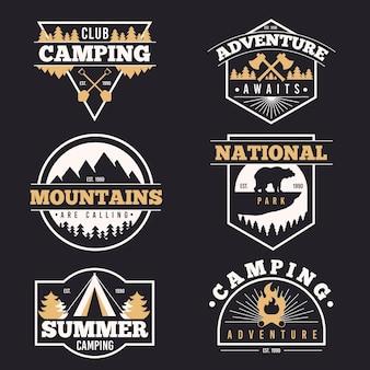 Vintage camping & abenteuer abzeichen