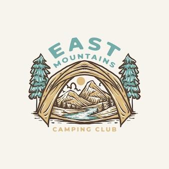 Vintage camping club abzeichen etikett illustration