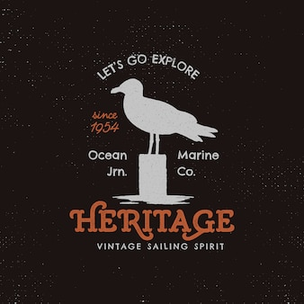 Vintage camping logo vorlage mit möwe