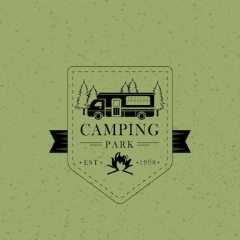Vintage camping park abzeichen
