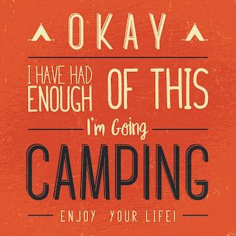 Vintage camping typografie illustration