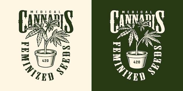 Vintage cannabis blumenetikettenschablone