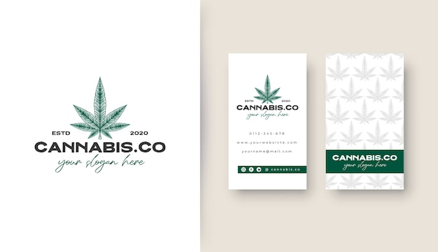 Vintage cannabis-logo mit potrait-visitenkarte