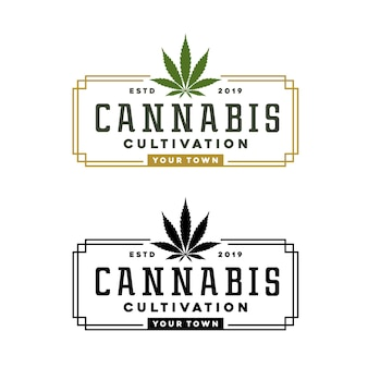 Vintage cannabis marihuana hanf rechteck stempel label logo-design