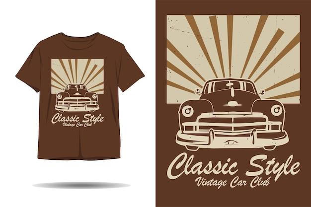 Vintage car club silhouette t-shirt design im klassischen stil