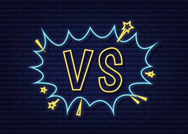 Vintage cartoon-werbung mit vs pop-stil. cartoon-stil. neon-symbol.
