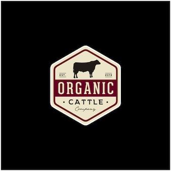 Vintage cattle angus beef meat abzeichen