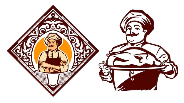 Vintage chef logo silhouette mit blumenrahmen gut für restaurant