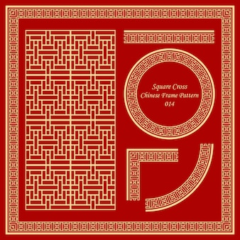 Vintage chinesische rahmenmuster set square cross