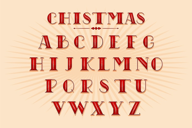 Vintage christmas alphabet pack