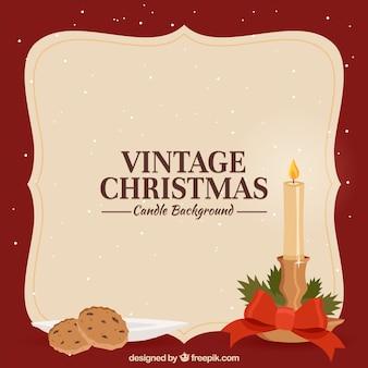 Vintage christmas background mit kerzen und keksen
