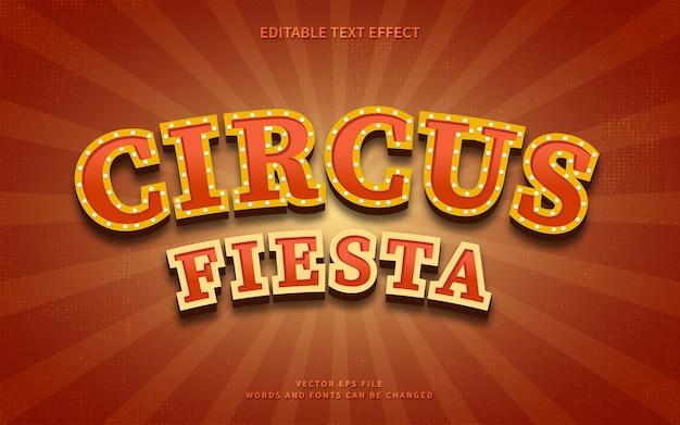 Vintage circus fiesta texteffekt auf retro burst hintergrund