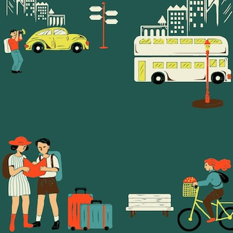Vintage city tour-rahmen mit touristischer cartoon-illustration