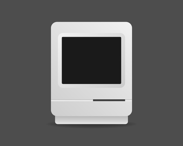 Vintage computer. retro-computermodell. realistische illustration.