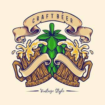 Vintage craft beer mit holzgläsern illustrationen